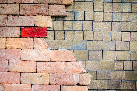 brick and ceramic laying for background Stock Photo