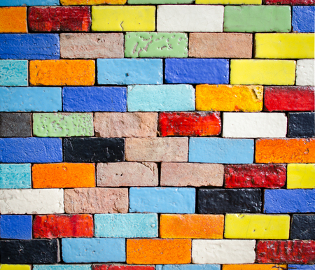 colorfull brick laying for background Stock Photo
