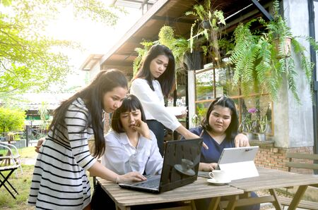 group of business woman conference in cafe