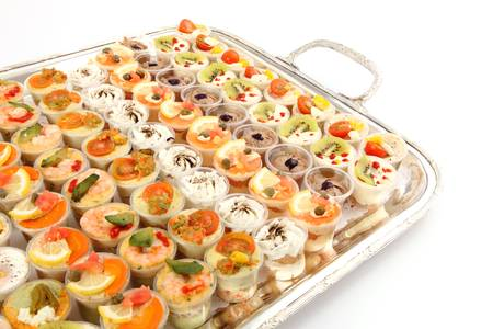 Appetizer Canape on tray photo