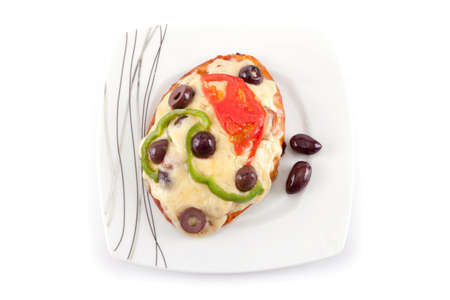 mini bread pizza topping isolated in white background  photo