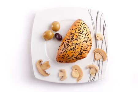 Pate stuffed with Mashroom with olive in white dish photo