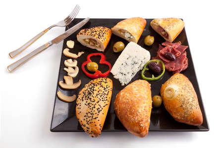 Selection of Pate Stuffed Mushroom, Blue Cheese and Pastrami photo