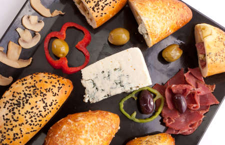 selections: Selection of Pate Stuffed Mushroom, Blue Cheese and Pastrami