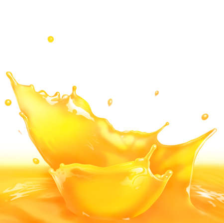 Fresh Orange juice splash making amazing waves and drops, Digital Painting photo