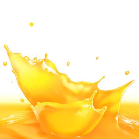 vaso de jugo: Salpicaduras de zumo de naranja haciendo olas incre�bles y gotas, Pintura Digital