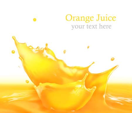 jugos: Salpicaduras de zumo de naranja haciendo olas incre�bles y gotas, Pintura Digital