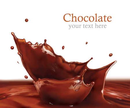 chocolate melt: Fresca spruzzata di cioccolato liquido facendo le onde incredibili e gocce, pittura digitale Archivio Fotografico