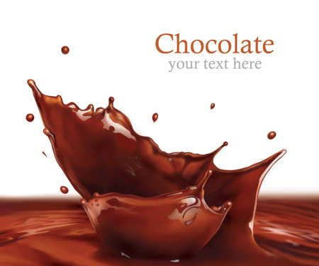 eating chocolate: Fresh Liquid Chocolate splash making amazing Waves and Drops, Digital Painting