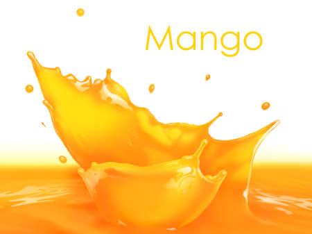 jugos: Chapoteo fresco jugo de mango haciendo olas incre�bles y gotas, Pintura Digital