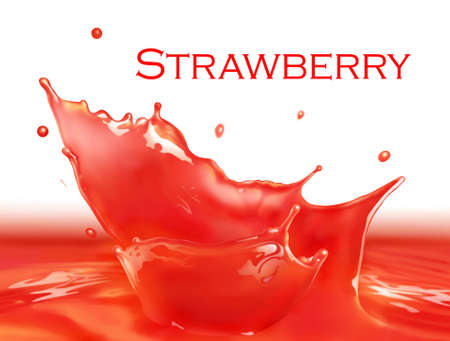 Strawberry juice splash making amazing waves and drops, Digital Painting