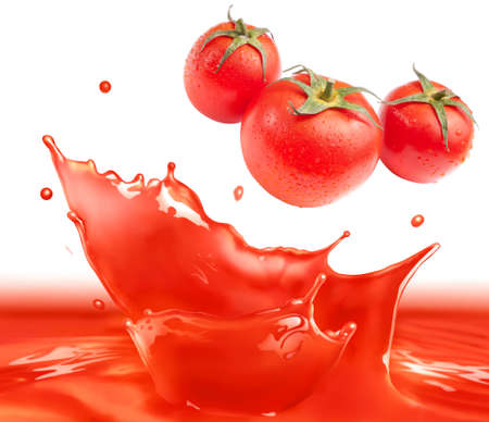 tomato sauce: Tomato sauce splash making amazing waves and drops with 3 tomatos, Digital Painting