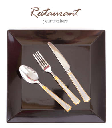 Restaurant Design black Dish with fork and knife, your text here