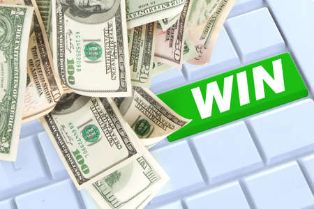 win mony keyboard enter button with money photo
