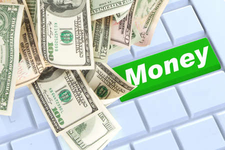 mony on keyboard enter button with money photo