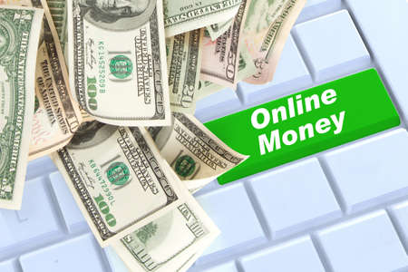online money keyboard enter button with money photo