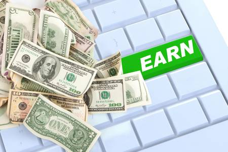 Earn money keyboard enter button with money photo