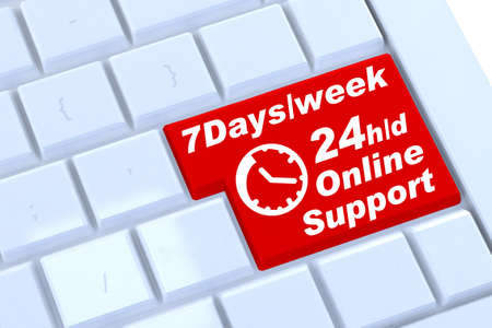 24x7: Support sign button on keyboard, 3D render Stock Photo