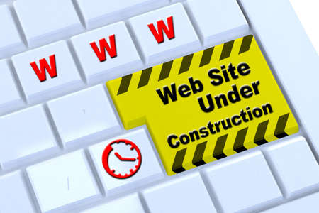 under construction message on enter key of keyboard, for website template  photo