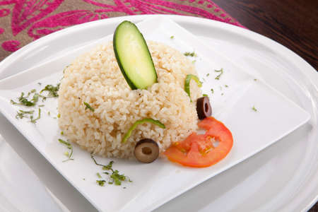 sella: White steamed rice in white dish Stock Photo