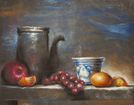 still life: Still life with fruits painting - drawing