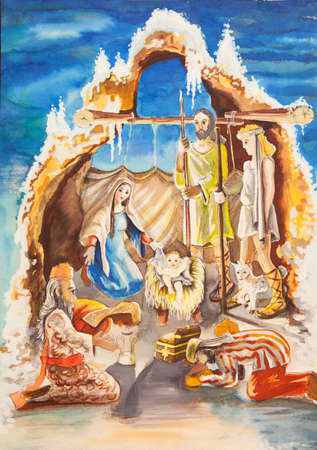 jesus mary joseph: Christmas Manger scene with figurines including Jesus, Mary, Joseph, sheep and magi.