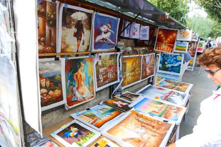 street vendor: Street vendor booths at Seine riverbank in Paris.