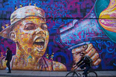 mural in Shoreditch Editorial