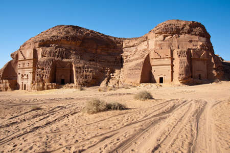 nabatean: tombs and landscape in Al-Hijr Al Hijr archaeological site Madain Saleh in Saudi Arabia