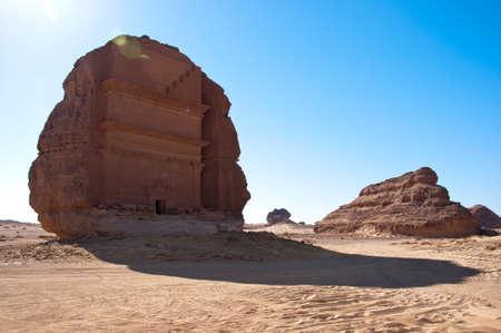 grave site: tombs and landscape in Al-Hijr Al Hijr archaeological site Madain Saleh in Saudi Arabia