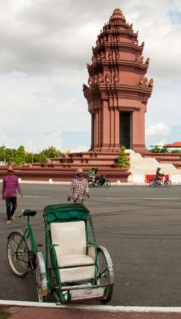 phnom penh: cycle rickshaw in Phnom Penh Cambodia for tourists