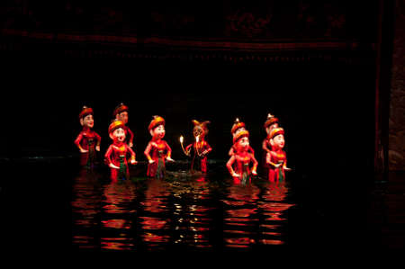 Water puppet show in Thang Long Theater in Hanoi Vietnam Stock Photo