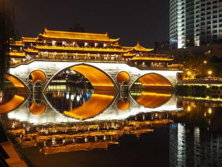 fluent: Anshun bridge at night in Chengdu Sichuan China