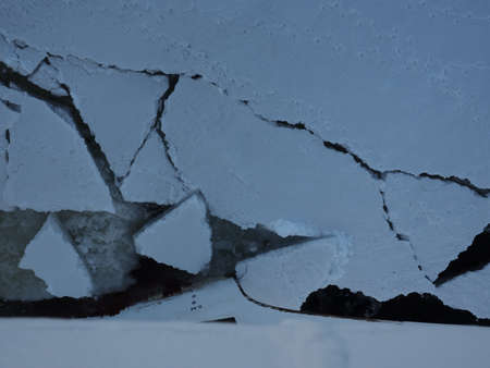 weddell: Ship trying to break through Antarctica ice floes Stock Photo