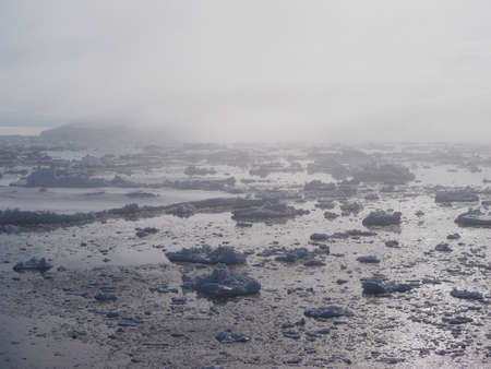 weddell: Antarctica foggy iceberg landscape ocean mirrow reflection Stock Photo