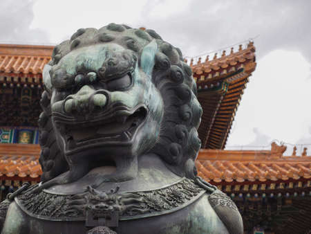 Forbidden City: Chinese guardian lions in forbidden city