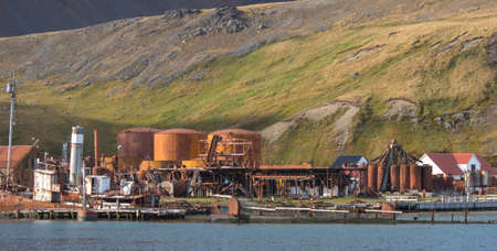 rusting: Old rusting boilers and whale oil storage tanks at the old whaling station in Grytviken, South Geoergia