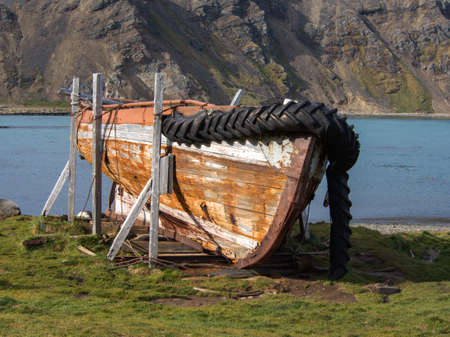 south georgia: Old relic shipwreck at the abandoned whaling station in Grytviken, South Georgia Island