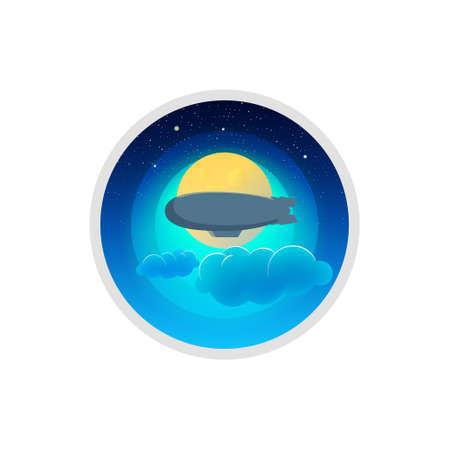 blimp: the landscape of the moon and blimp