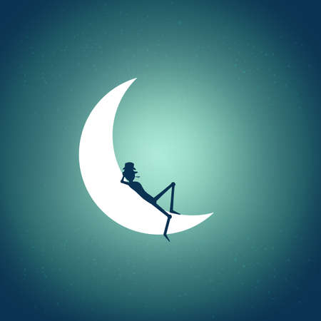 man on the moon: Sleeping man on the night moon illustration Illustration