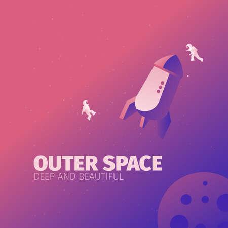 zero gravity: astronauts in zero gravity banner for web Illustration