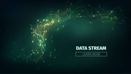 torrent: Abstract data stream  illustration. Technology futuristic background with information flow and glowing.