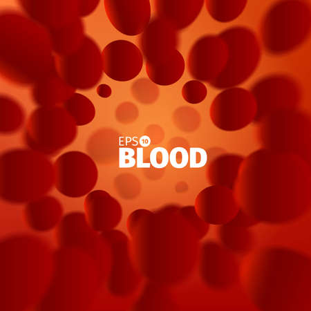 capillary: Science illustration. Abstract blood background . Microscope view. Cells stream
