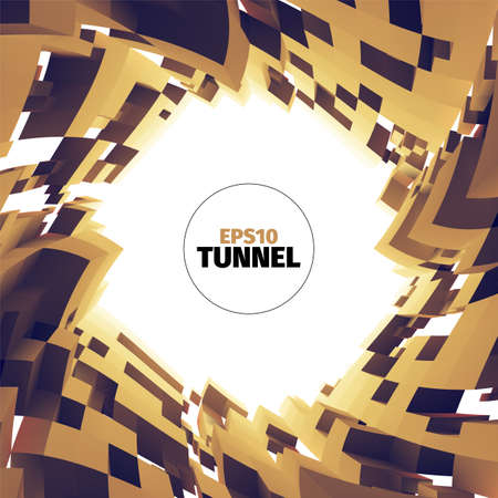 technolgy: Abstract tunnel of boxes. Vortex border. 3d vector twist illustration