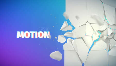slit: flying rock pieces banner. Motion collapse vector