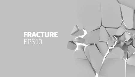 Fracture vector background for banner. Rock explode and destruction