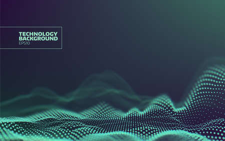 Futuristic dots pattern. Technology wave background. Digital abstract. Cyberspace landscape. Particles grid