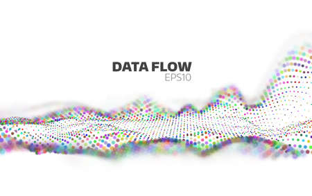 Abstract Data flow visualization. Information stream. Particles network Ilustracja