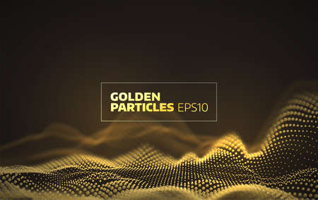 Abstract golden particles grid. 3d network background
