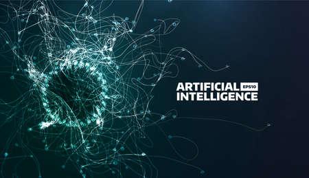인공 지능 벡터 일러스트 레이 션. 난기류 흐름 흔적. 미래의 과학 배경입니다. 유기 구조